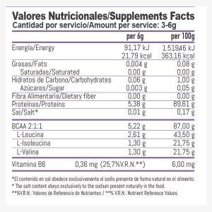 Composicion Aminoacidos en polvo-2:1:1 500grs Lima Limon | Bemaxx Nutrition Suplementos deportivos de calidad con precios directos del fabricante