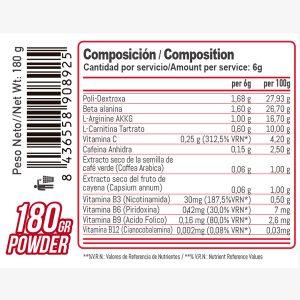 Composicion Pre Entreno On Fire Maxx 180grs Cereza Bemaxx Nutrition | Suplementos deportivos de calidad a precios directos del fabricante